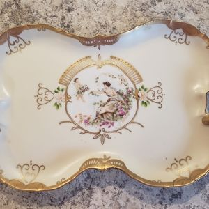Vintage tray with gold trim